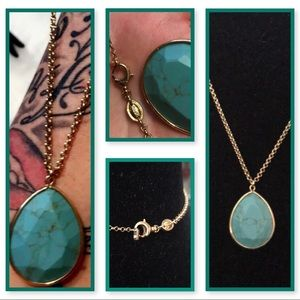 Fossil Gold Necklace W/ Large Turquoise Pendant